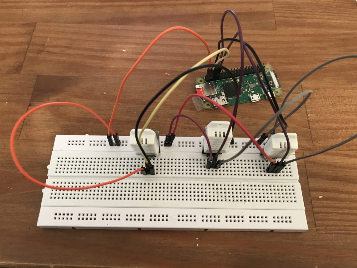 Raspberry Pi with humidity and temperature sensors