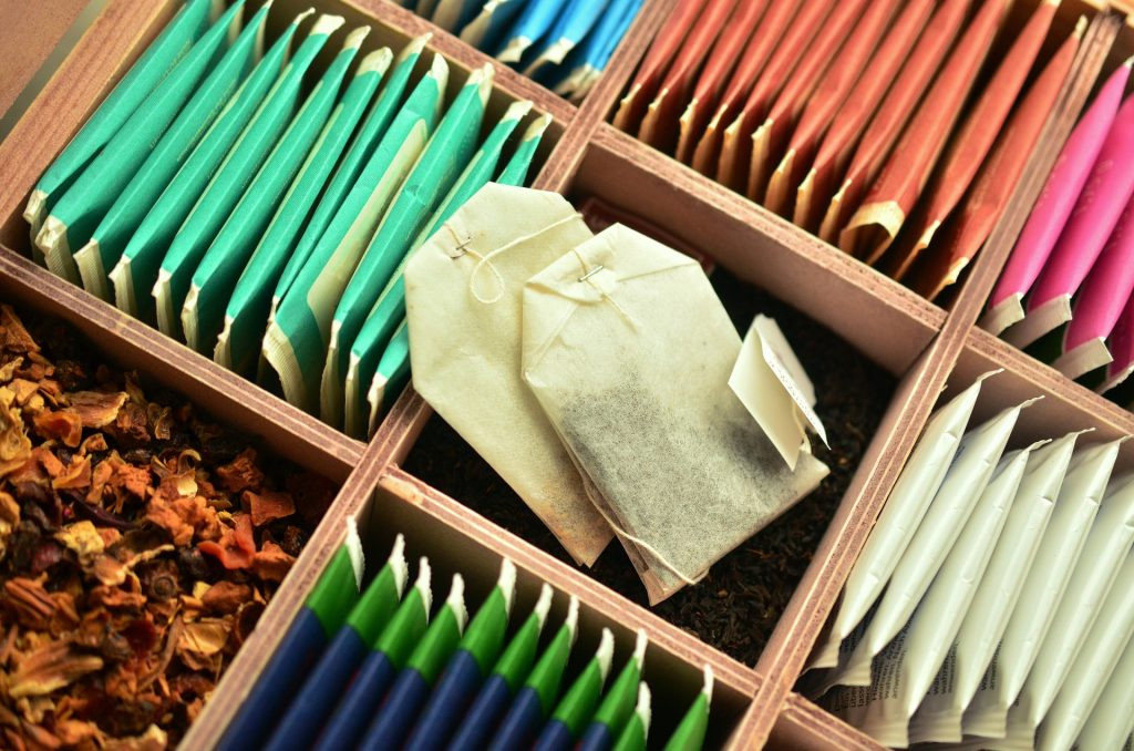 An image of tea bags sorted by color.
